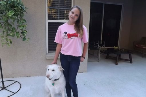 Kyra sporting tshirt with Mama Dog